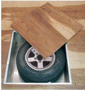 Spare tire closet in floor