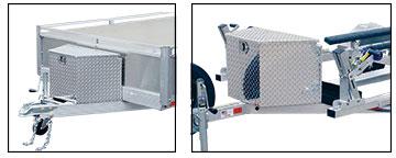 Diamond Plate storage box secured to trailer tongue
