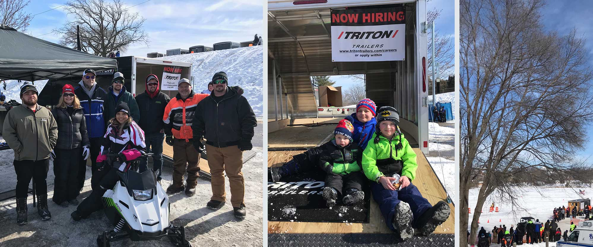 Employees at Neosho Snowmobile races, kids in TC118 Trailer
